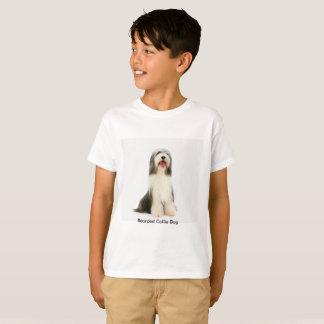 Bearded Collie dog image for Kids'-T-Shirt-White T-Shirt
