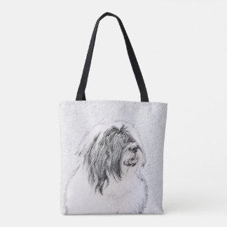 Bearded Collie Drawing - Cute Original Dog Art Tote Bag