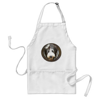 Bearded collie face in old wooden frame standard apron