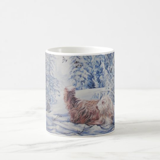 Bearded Collie Fine Art Winter Scene Mug