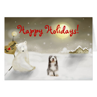 Bearded Collie Holiday Card