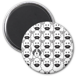 Bearded Collie in the Sheep 6 Cm Round Magnet
