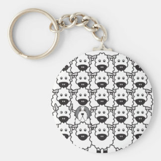 Bearded Collie in the Sheep Basic Round Button Key Ring