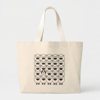 Bearded Collie in the Sheep Large Tote Bag