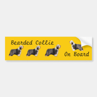 Bearded Collie On Board Car Decal Bumper Sticker