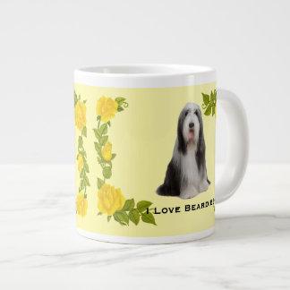 Bearded Collie on Yellow Roses Coffee Mug Jumbo Mug