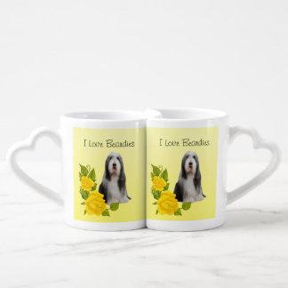 Bearded Collie on Yellow Roses Double Mug Lovers Mug