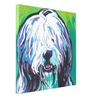 Bearded Collie Pop Dog Art on Wrapped Canvas Gallery Wrap Canvas