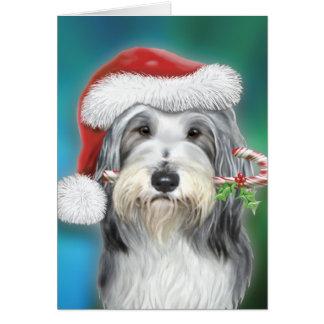 Bearded Collie Santa BG Greeting Card