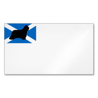 bearded collie silhouette Scotland flag Magnetic Business Cards
