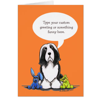 Bearded Collie Speaks Your Custom Greeting Card