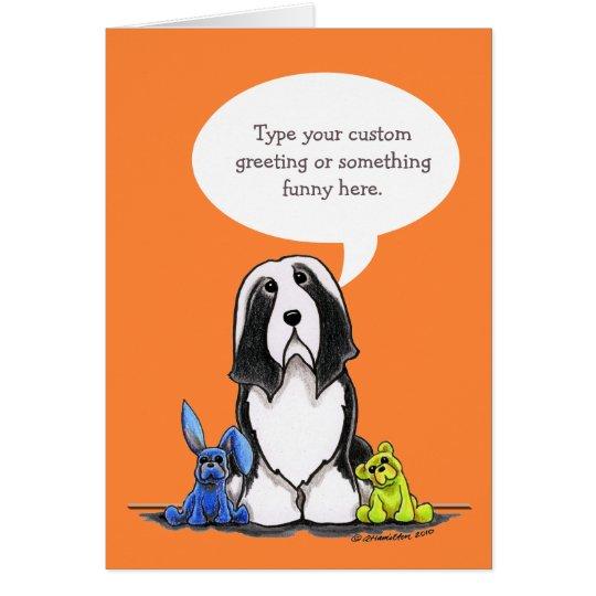 Bearded Collie Speaks Your Custom Greeting Card