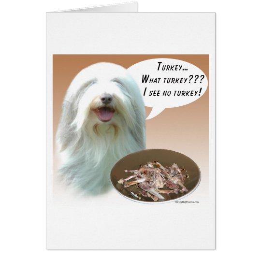 Bearded Collie Turkey Card