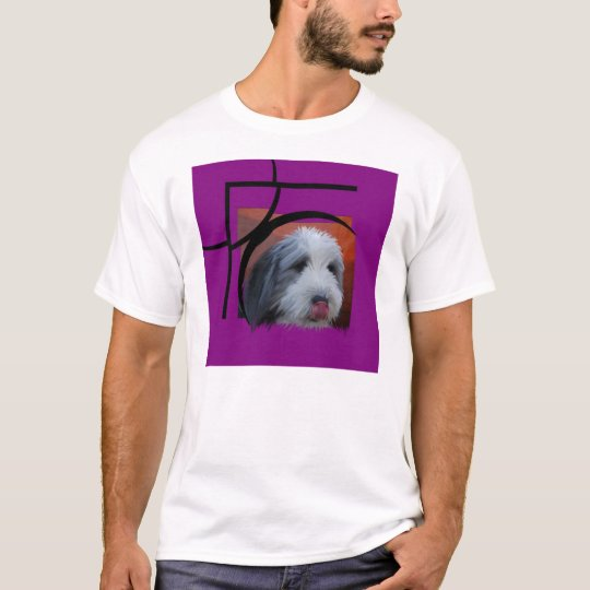 Bearded Collie with pink T-Shirt