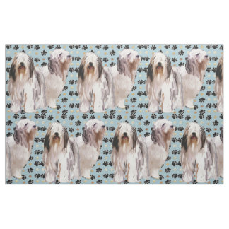 Bearded Collies and paw prints fabric