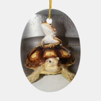 Bearded Dragon and Sulcata Tortoise Christmas Ornament