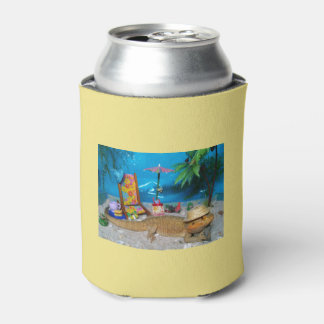 "Bearded Dragon ""Life's a Beach"" Beer Cozy Can Cooler"
