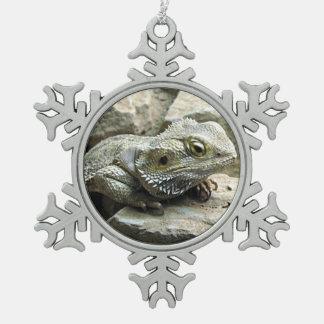 Bearded Dragon Pewter Snowflake Decoration