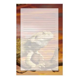 Bearded dragon (Pogona Vitticeps) on branch, Stationery