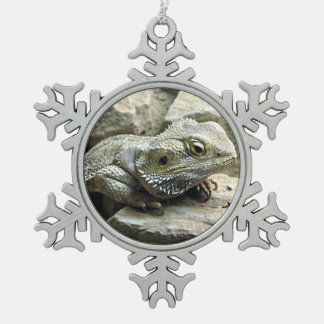 Bearded Dragon Snowflake Pewter Christmas Ornament