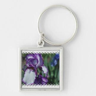 Bearded Iris Flower Keychain
