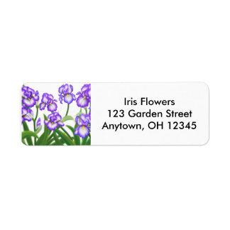 Bearded Iris Flowers Label