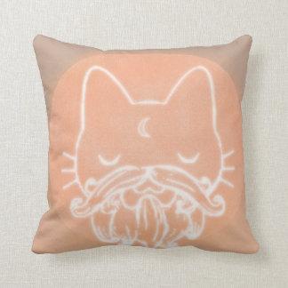 Bearded Kitty Throw Pillow