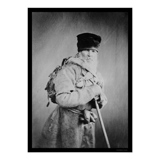 Bearded Russian Man Wearing a Backpack 1880 Poster