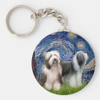 Beardie Pair 1 - Starry Night Basic Round Button Key Ring