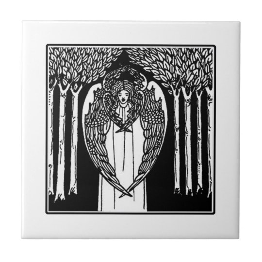 Beardsley Art Nouveau Angel Ceramic Tile