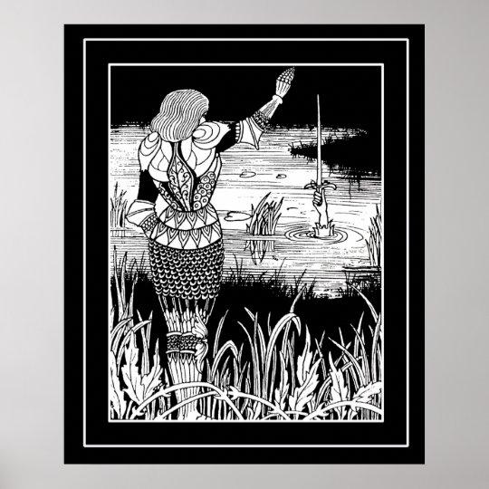 Beardsley Excalibur& Knight Art Poster