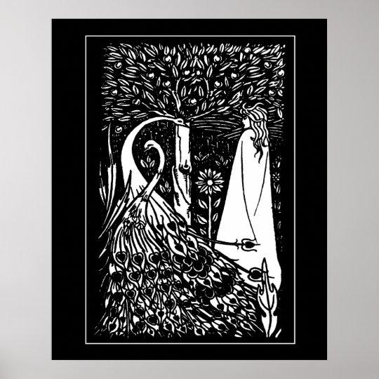 Beardsley Lady & Peacocks Poster Print