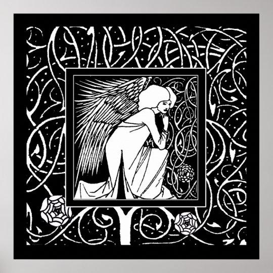 Beardsley Nouveau Angel Poster Print