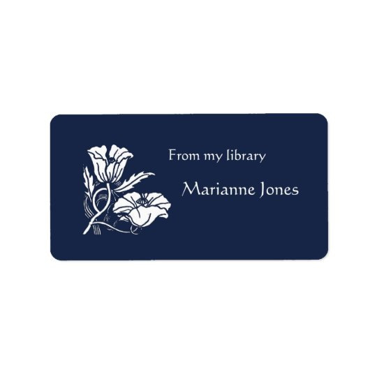 Beardsley Poppies Bookplate Address Label