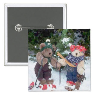 Bearly Skiers 15 Cm Square Badge