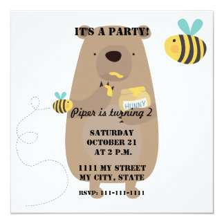 Bears and Bees 13 Cm X 13 Cm Square Invitation Card