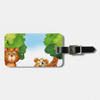 Bears and forest luggage tag