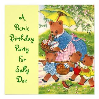 Bears Birthday Party Invitation Picnic Outdoors