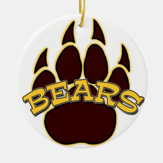 BEARS Gold & Brown Pawprint Christmas Ornament
