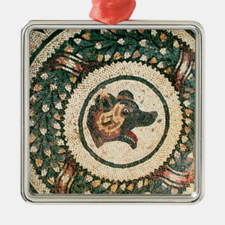 Bear's Head, Roman mosaic, early 4th century Silver-Colored Square Decoration