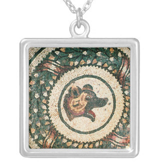 Bear's Head, Roman mosaic, early 4th century Silver Plated Necklace