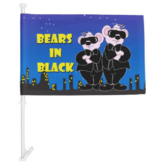 BEARS IN BALCK CARTOON Car Flag