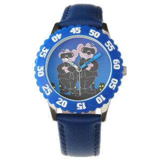 BEARS IN BLACK CARTOON Bezel with Blue Numbers Watch