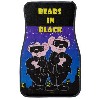 BEARS IN BLACK Cartoon Car Mats (Front) (set of 2) Floor Mat