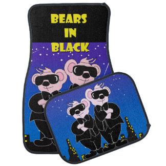 BEARS IN BLACK Cartoon Car Mats Full Set (setof2)