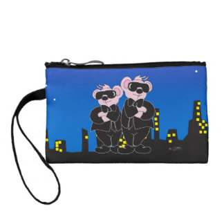 BEARS IN BLACK CARTOON Key Coin Clutch