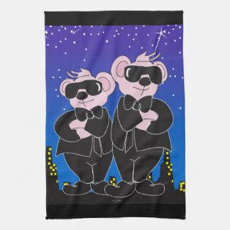 "Bears in Black Cartoon Kitchen Towel 16"" x 24"""
