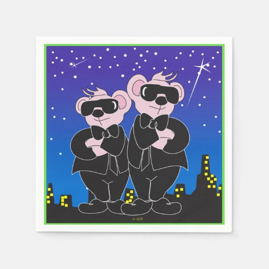 BEARS IN BLACK CARTOON NAPKINS Standard Cocktail Disposable Serviettes