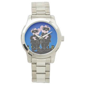 BEARS IN BLACK CARTOON Oversized Silver Bracelet Watch