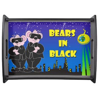 BEARS IN BLACK CARTOON Serving Tray, Black LARGE Serving Tray